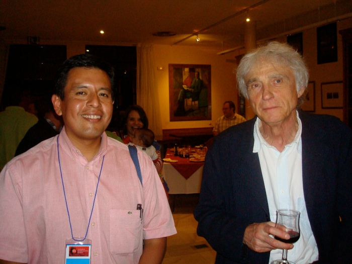 (i-d) Abel Suing y Armand Mattelart, durante el VII Encuentro de ULEPICC, Madrid, octubre de 2009.